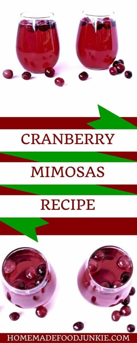 These delicious cranberry mimosas are just the ticket for any holiday gathering this year! They are festive, pretty and easy to make. Enjoy the delicious sparkly taste of cranberry bubbly for the holiday season. #mimosa #christmascocktail, #cocktailrecipe, #cranberrycocktail,