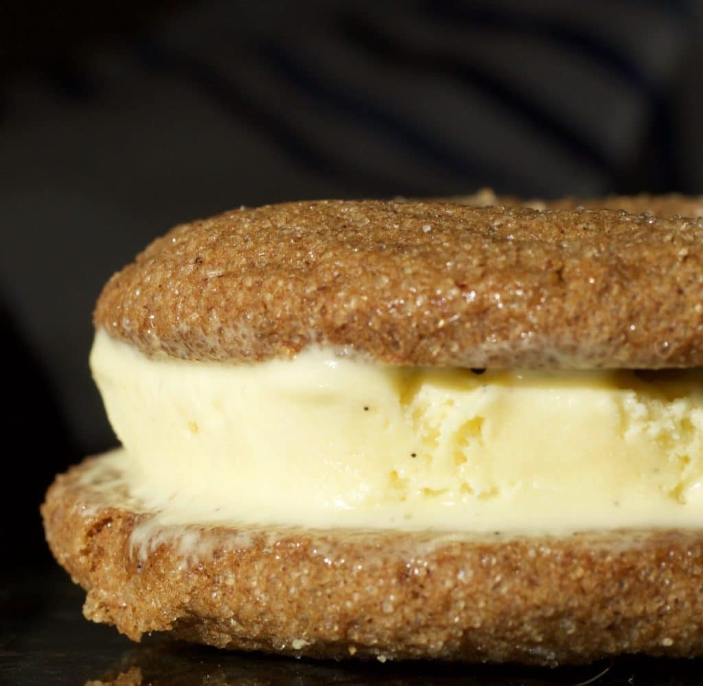 Gingerbread Ice Cream Sandwich with french vanilla bean ice cream