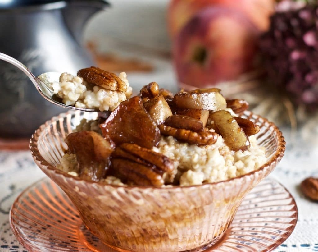 Steel Cut Oats with Fried Maple Apple Pecans