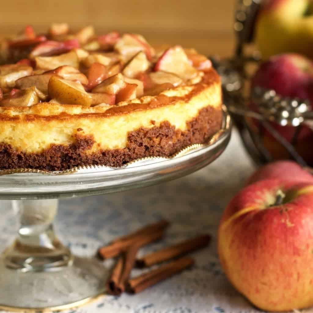 Cheesecake with apple pie topping.