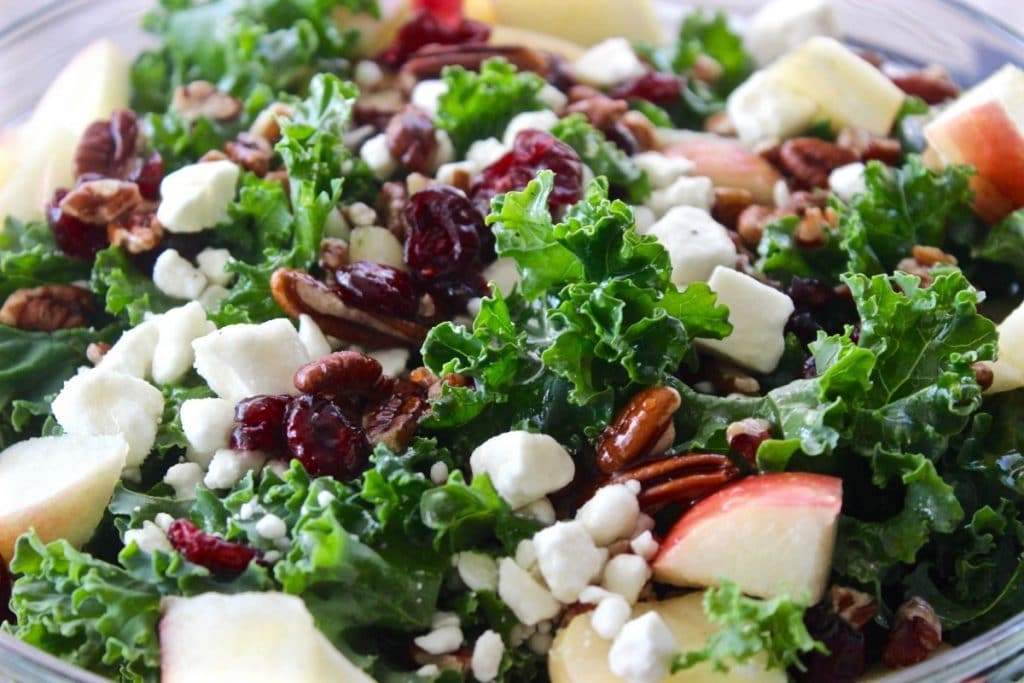 Kale Apple Salad with Honey Dressing
