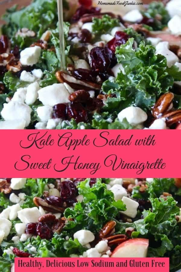 This delicious Kale Apple salad is dressed with a tasty sweet honey vinaigrette. Pops of feta cheese and cranberries laced throughout add tangy flavor. This healthy salad is Low-Sodium and Gluten-Free. #glutenfree #kalesalad #saladrecipe #kalesaladrecipe #kalesaladdressingrecipe