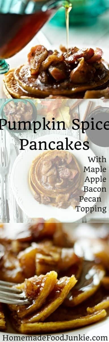 Pumpkin Spice Pancakes with a delicious flavorful topping of apples and bacon by HomemadeFoodJunkie.com