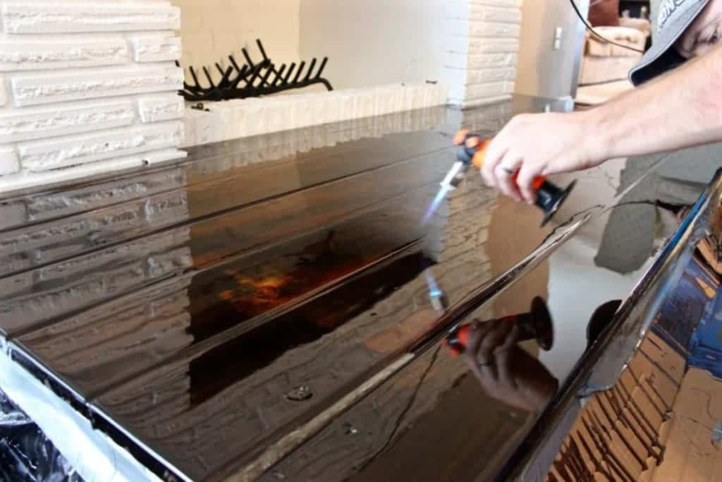 DIY Fireplace Overhaul part 3-Finishing a Wooden Hearth in Epoxy