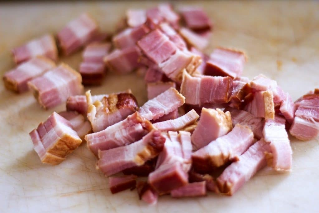 Natural minimally processed bacon from a local farm for Chicken Noodle Minestrone