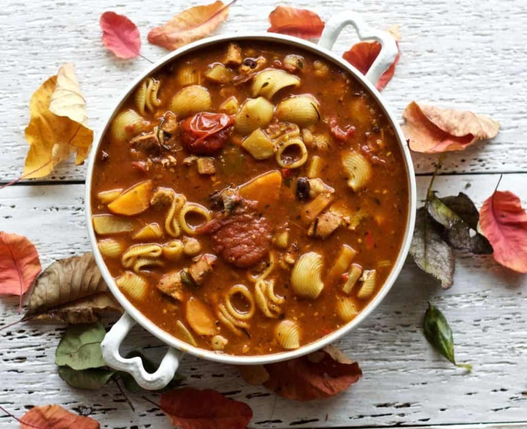 a hearty Mediterranean Chicken Minestrone full of noodly goodness. This Balanced, High-Fiber, Dairy-Free soup is so full of decadent rich flavor, you'll never guess it's good for you! http://homemadeFoodJunkie.com
