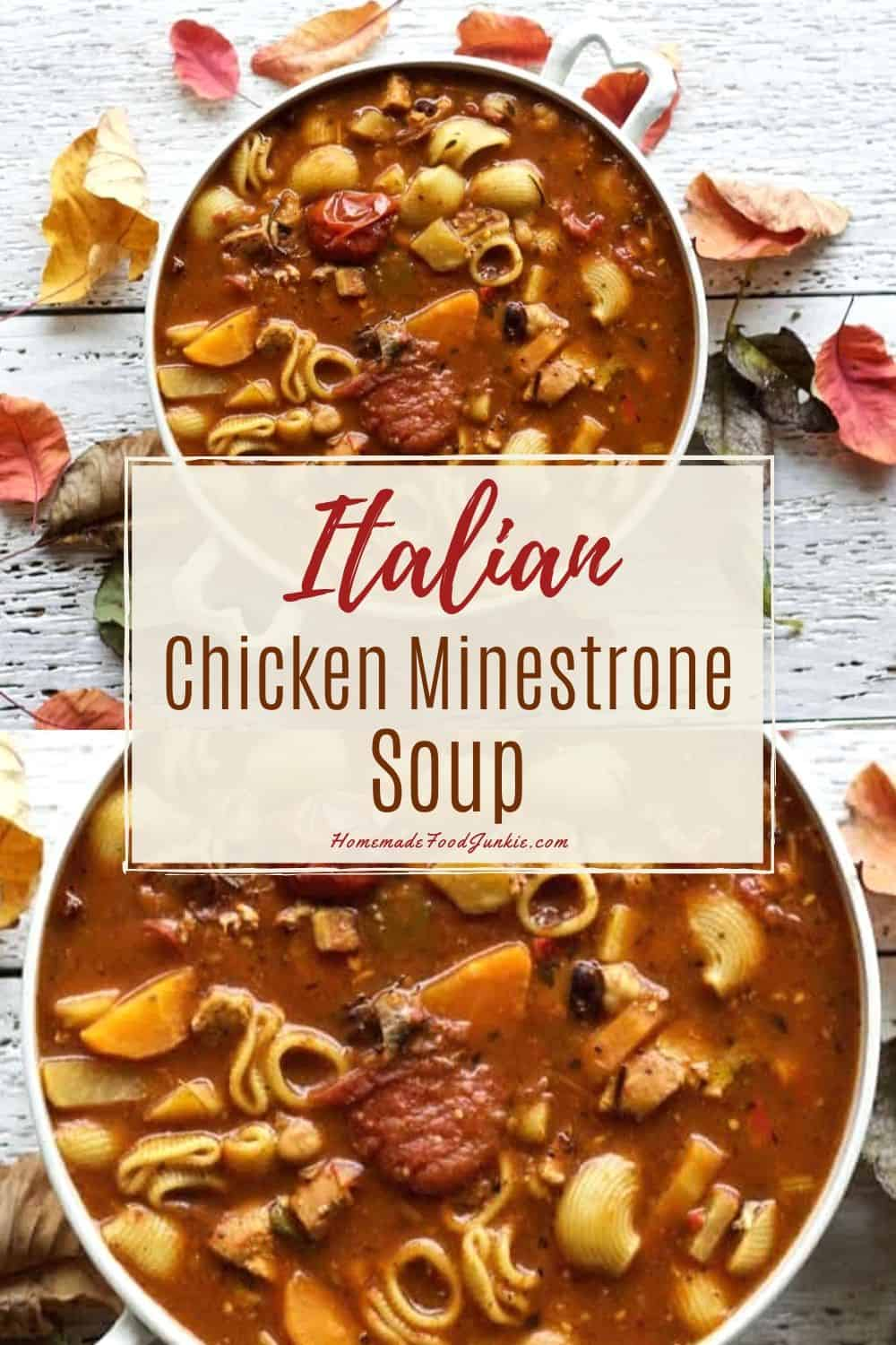 Italian chicken minestrone soup-pin image