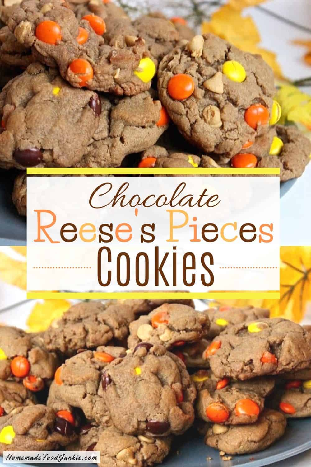 Chocolate Reeses Pieces Cookies-pin image