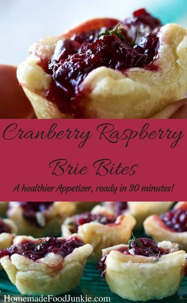 Cranberry Raspberry Brie Bites, A healthier, easy, yummy appetizer for your next party! By HomemadeFoodJunkie.com