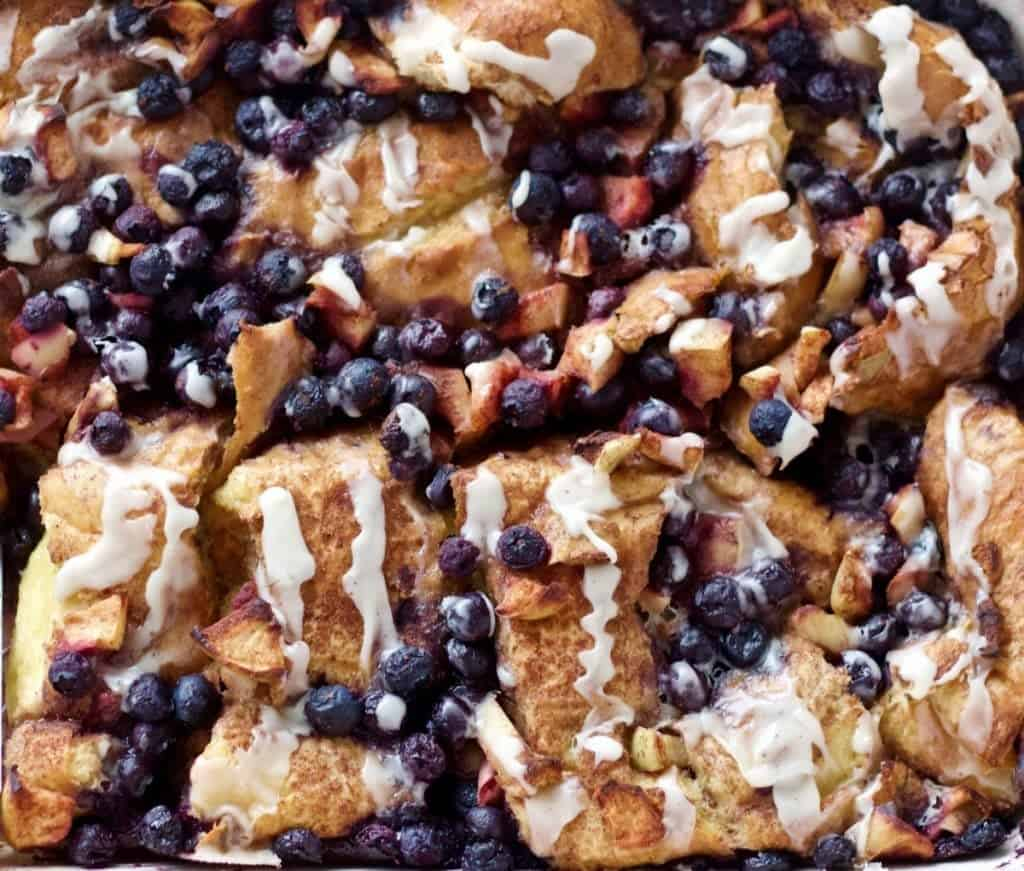 Blueberry Apple Overnight Bread Pudding by HomemadeFoodJunkie.com