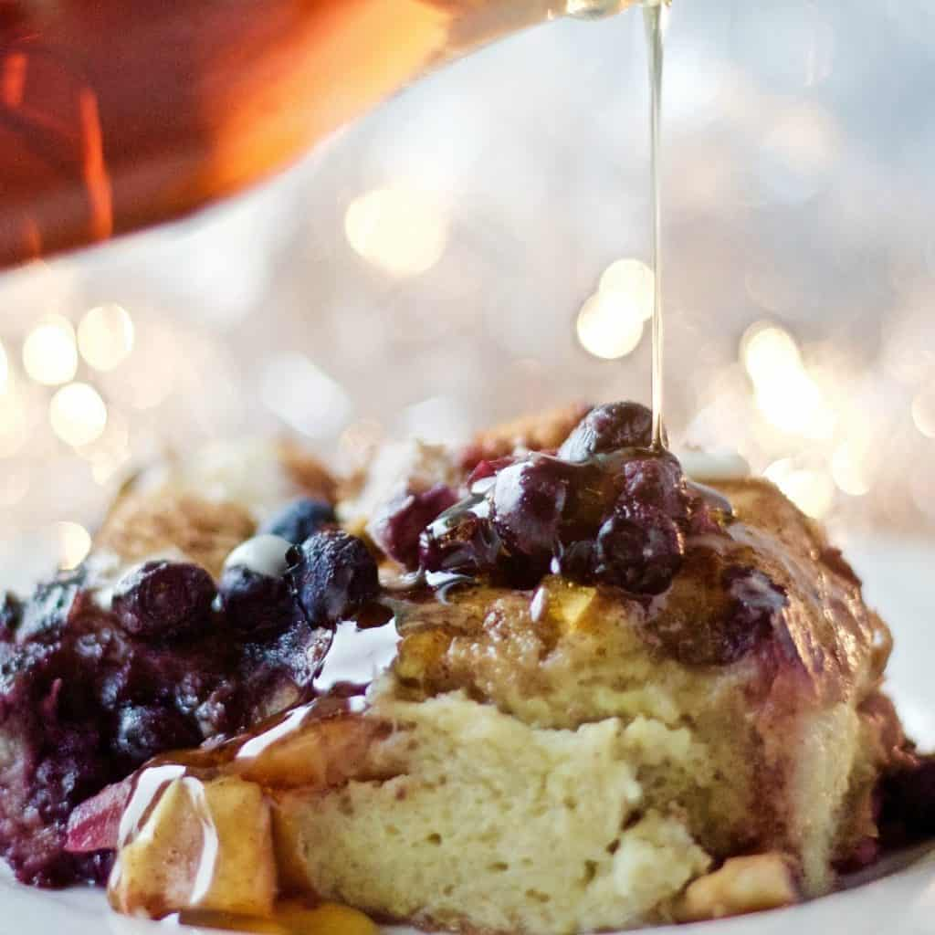 Blueberry Apple Overnight Bread Pudding. An easy, special, make ahead breakfast. Crowd Pleaser!