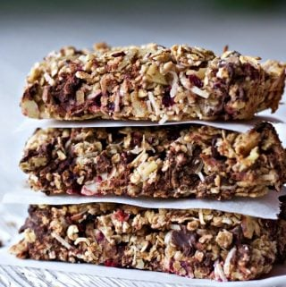 Homemade Healthy Coconut Cranberry Choco Bars