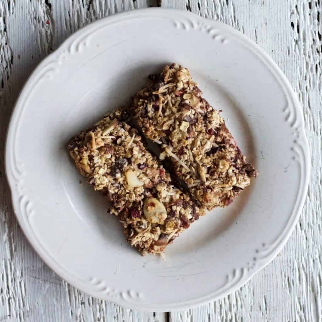 homemade healthy coconut cranberry chocolate bars