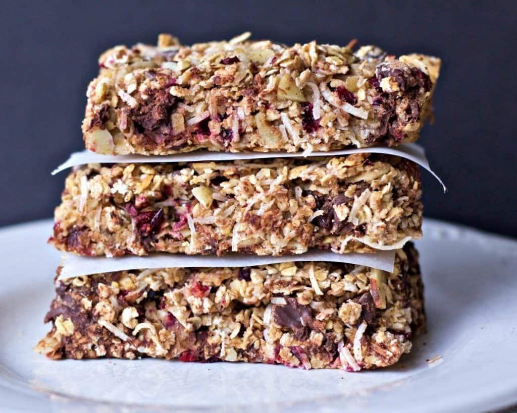 Homemade Healthy Coconut Cranberry Choco Bars