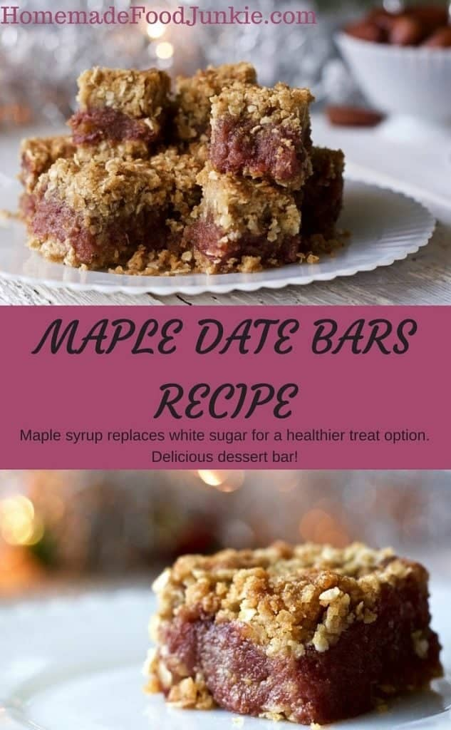 MAPLE DATE BARS RECIPE by HomemadeFoodjunkie.com