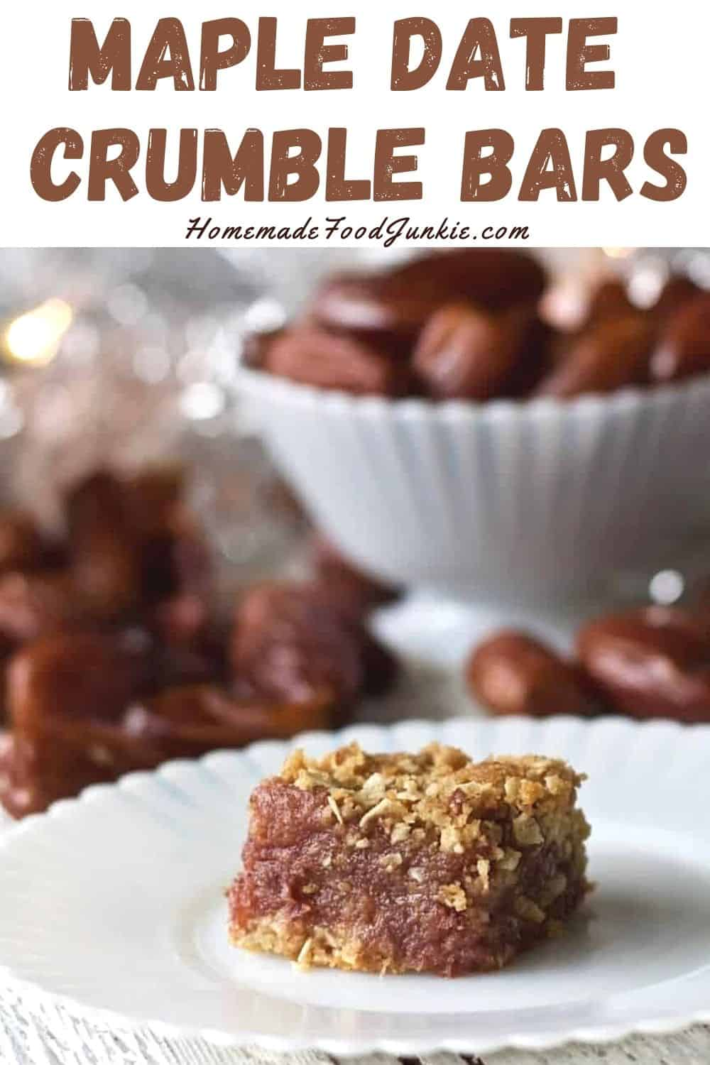 Maple date crumble bars-pin image