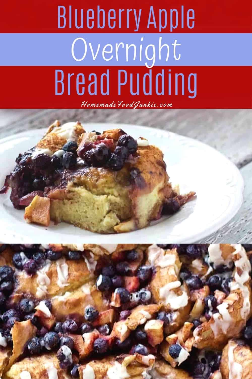 BlueBerry Apple Overnight Bread Pudding-Pin Image