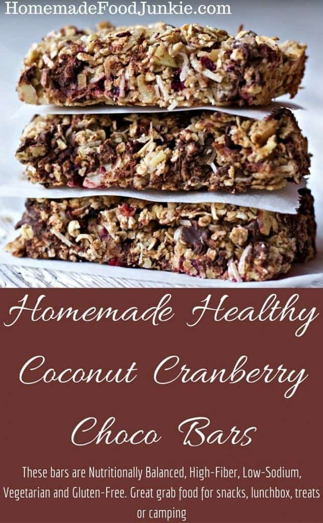 Homemade Healthy Coconut Cranberry Choco Bars.These bars are Nutritionally Balanced, High-Fiber, Low-Sodium, Vegetarian and Gluten-Free. By HomemadeFoodJunkie.com