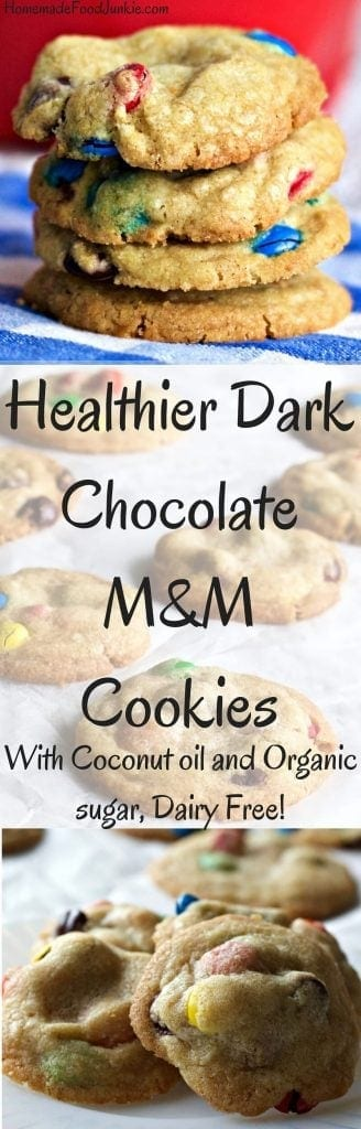 Healthier Dark Chocolate M&M Cookies made with coconut oil and organic sugar! Dairy free! by http://HomemadeFoodJunkie.com