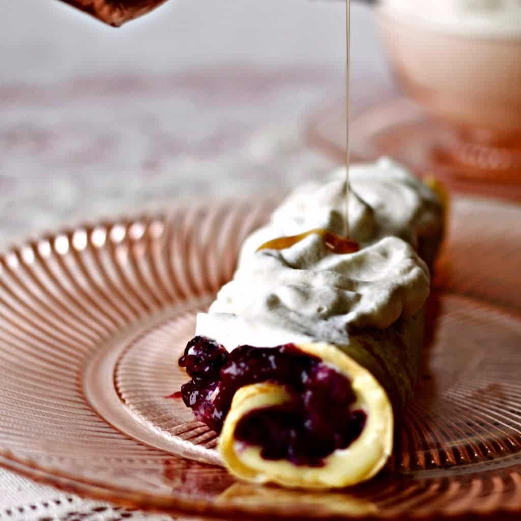 Blueberry Lemon Curd Crepes by HomemadeFoodjunkie.com