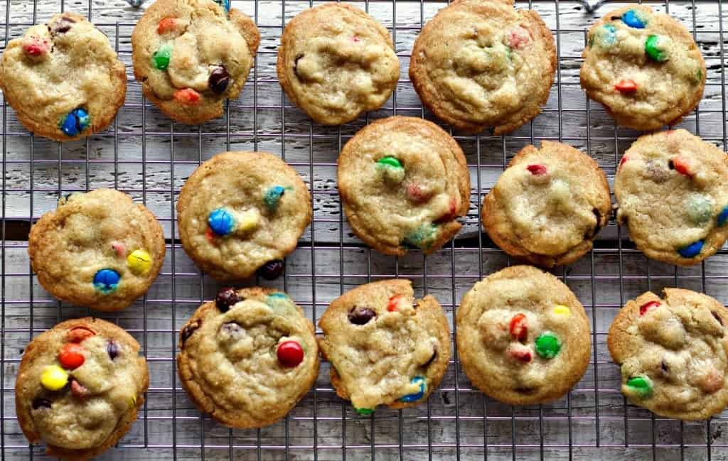 Healthier Dark Chocolate M&M Cookies