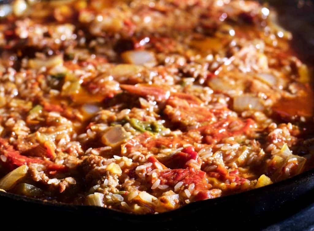 Chorizo Cabbage Rolls Skillet Dinner filling