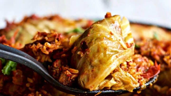 Chorizo Cabbage Rolls Skillet Dinner