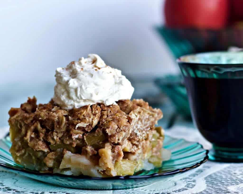 Mid Winter Rhubarb Apple Fruit Crisp A delicious treat made with Maple Syrup! http://homemadefoodjunkie.com