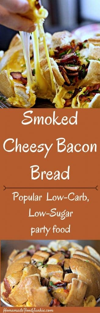 Smoked Cheesy Bacon Bread low carb, low sugar appetizer by http://Homemadefoodjunkie.com