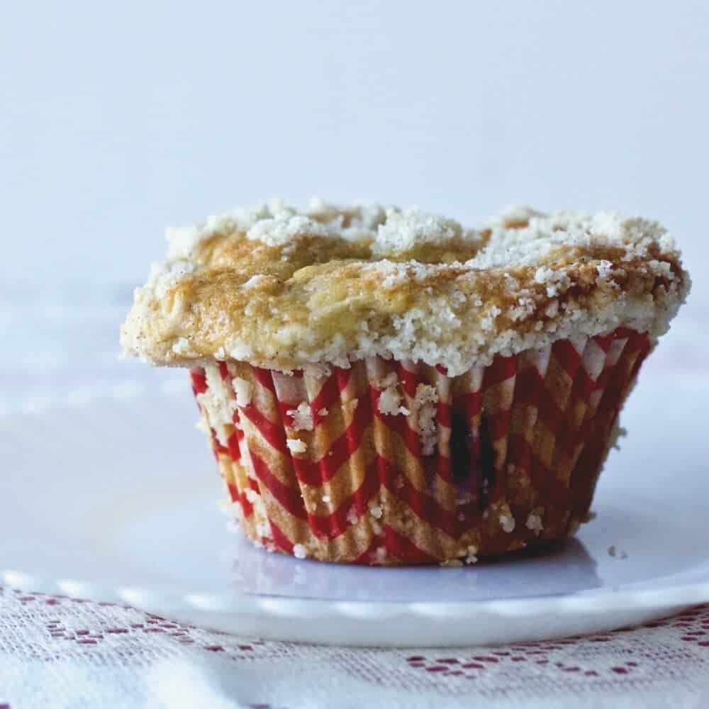 Rhubarb Blueberry Cardamom Streusel muffins
