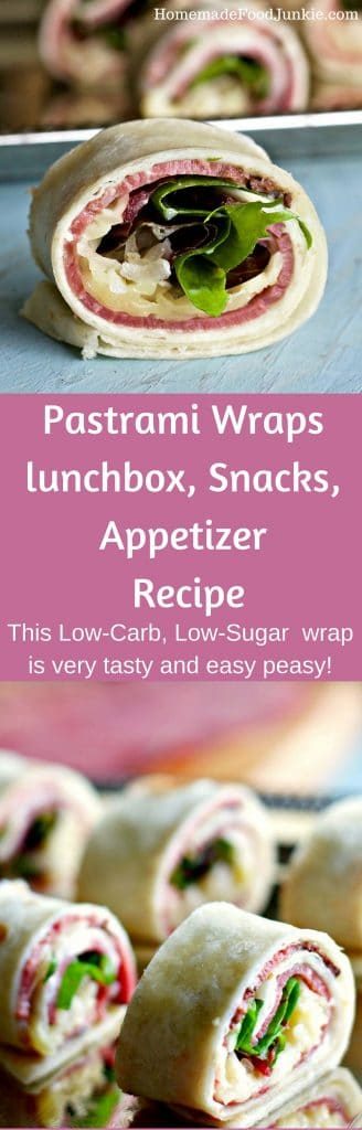 Pastrami Wraps lunchbox, Snacks, Appetizer Recipe This Low-Carb, Low-Sugar party food is very tasty and easy peasy! http://Homemadefoodjunkie.com
