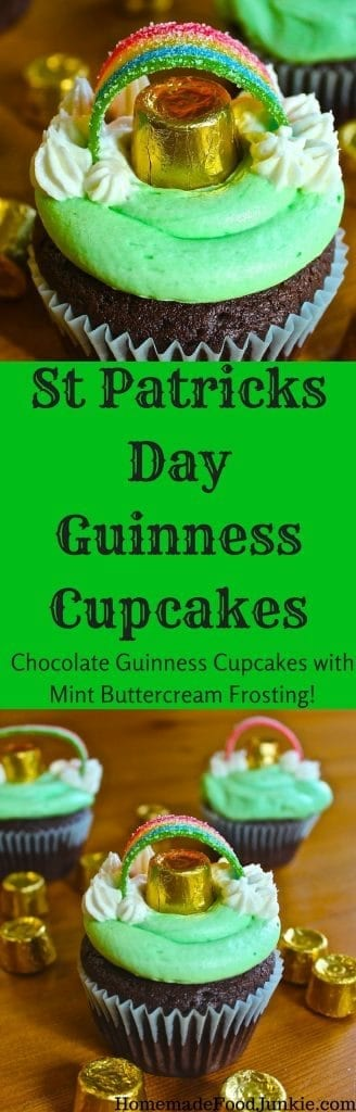 St Patricks Day Guinness Cupcakes with mint buttercream frosting. Now who is ready for a party?