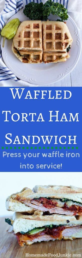 Waffled Torta Ham Sandwich Step up your sandwiches! http://HomemadeFoodjunkie.com