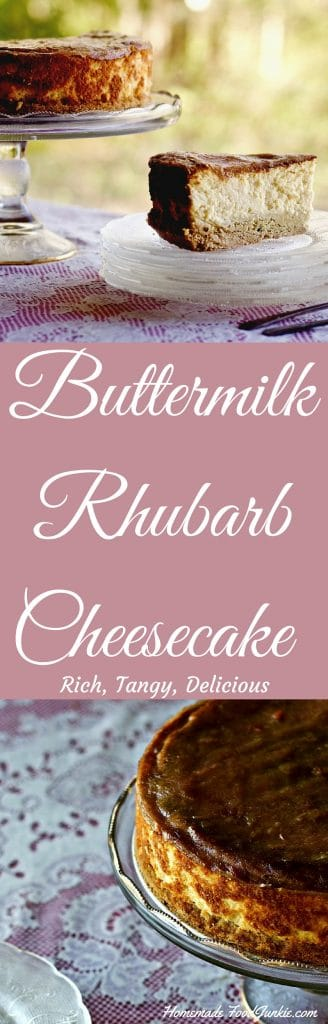 Buttermilk Rhubarb Cheesecake Rich, Tangy, Delicious! http://HomemadeFoodjunnkie.com
