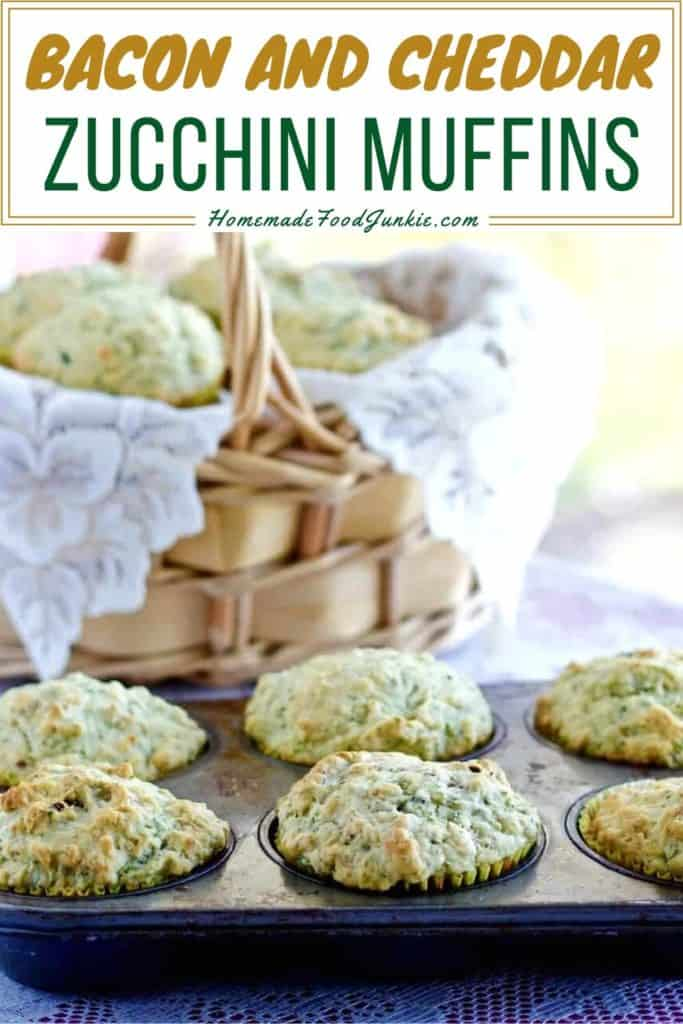 Bacon and cheddar zucchini muffins-pin image