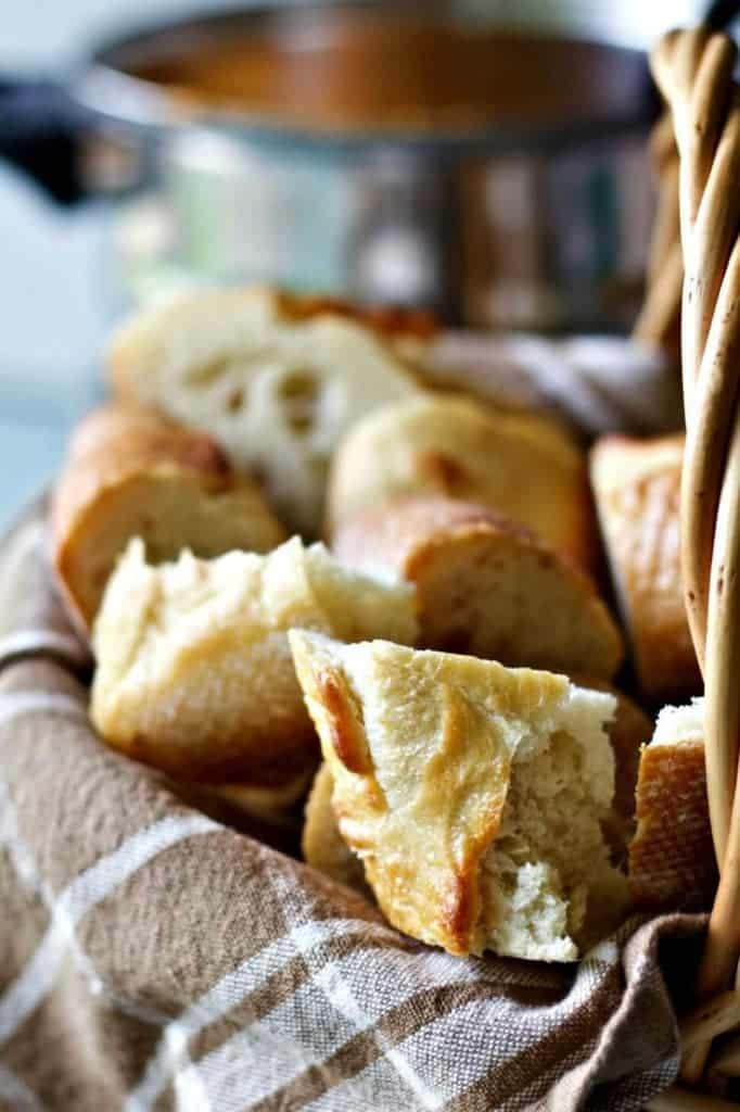 Roasted Pepper Cheese Fondue Sauce Bread For Dipping