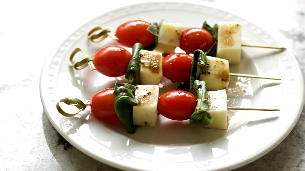 Caprese Salad Bites on a party plate