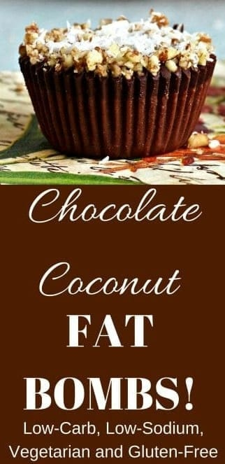 Chocolate Coconut Fat Bombs. These delicious little treats are Low-Carb, Low-Sodium, Vegetarian and Gluten-Free! Keep them in your fridge or freezer for a quick, high energy pick me up! #keto #lowcarb #glutenfree #snacks #fatbombs