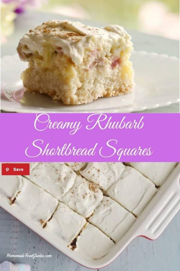 Creamy Rhubarb Shortbread Squares