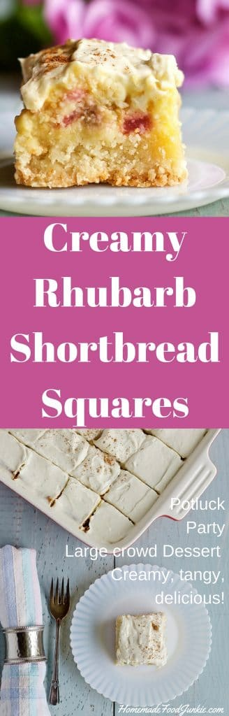 Creamy Rhubarb Shortbread Squares Potluck, party, large crowd dessert. Watch it vanish off the plates! http://HomemadeFoodJunkie.com