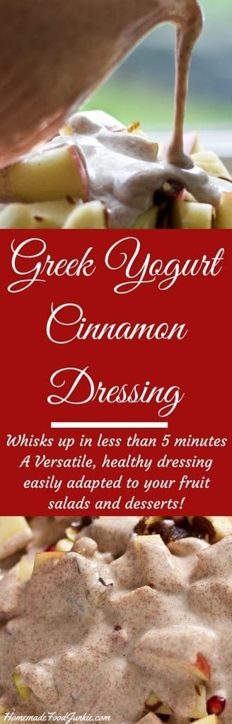 Greek Yogurt cinnamon dressing is a delicious, low-fat substitute for whipped cream dressings. http://HomemadeFoodJunkie.com