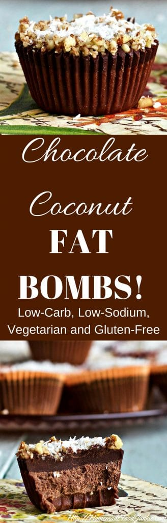 Chocolate Coconut Fat Bombs Low-Carb, Low-Sodium, Vegan, Vegetarian, Dairy-Free, Gluten-Free. http://homemadeFoodJunkie.com