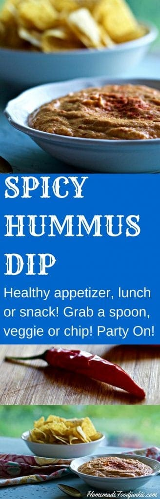 SPICY HUMMUS DIP This dip is amazingly healthy! Nutritionally Balanced, High-Fiber, Low-Sugar, Vegan, Vegetarian, Dairy-Free, Gluten-Free! Grab a spoon or a chip! http://homemadeFoodjunkie.com