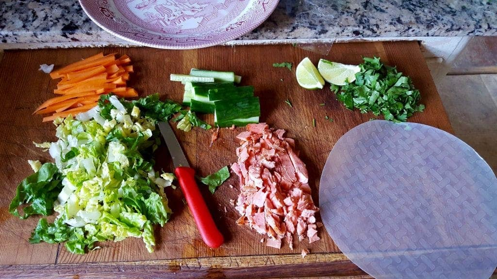 Here are the filling ingredients for these yummy Smoked Salmon wraps. http://HomemadeFoodjunkie.com