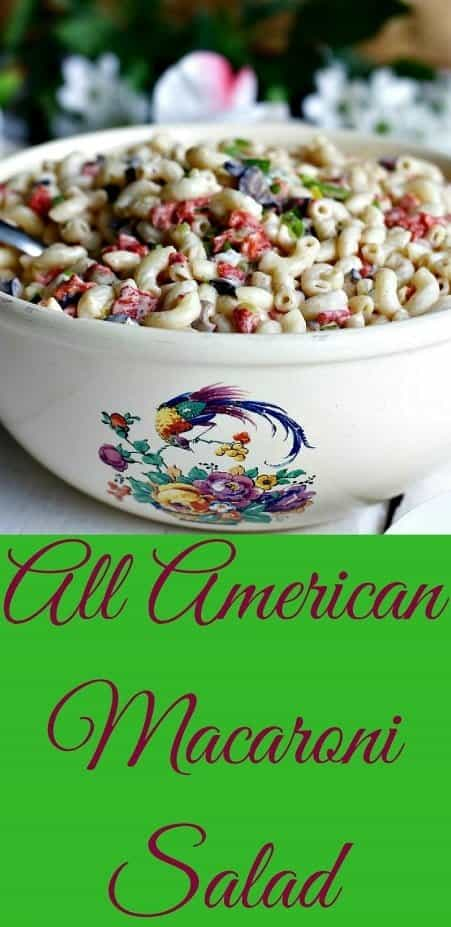 All American Macaroni salad is famous summer picnic and potluck food. Count on it! Macaroni salad is sitting right next to apple pie on American picnic tables everywhere. A summer potluck staple. This yummy salad is on every mother's list of family favorite summer foods. Enjoy! #salad #pastasalad #macaronisalad