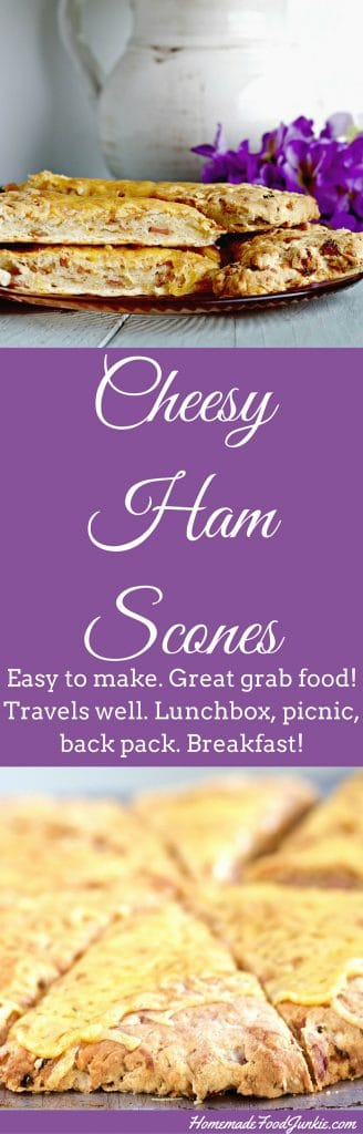 Low-Sugar Cheesy Ham scones are a filling, sustaining meal; easily eaten in the hand. It's VERY easy to whip up a batch of these savory scones. Enjoy a Cheesy Ham scone for breakfast lunch and dinner! http://Homemadefoodjunkie.com