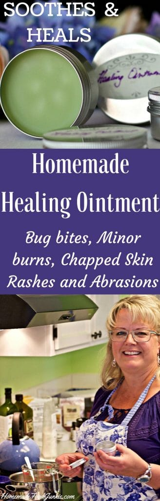 Homemade Healing Ointment soothes rashes, minor burns, chapped skin and abrasions Http://HomemadeFoodjunkie.com