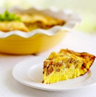 Crustless Sausage Cheese Quiche low carb, low sugar and gluten free http://HomemadeFoodJunkie.com