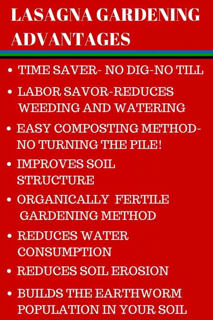 LASAGNA GARDENING ADVANTAGES Lasagna Gardening Method: Save Garden labor and water while improving the soil! http://HomemadeFoodJunkie.com