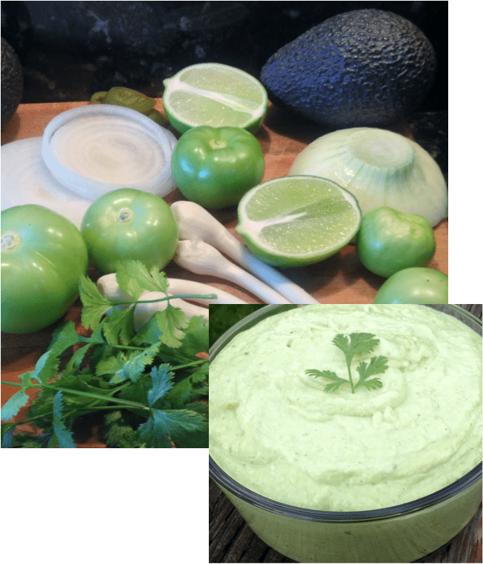 Spicy Tomatillo Chip dip and ingredients